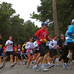 Runners round a corner during the Kiawah Marathon on December 12.