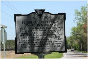 Historical marker for the Battle of Burden's Causeway at the intersection of River and Plowground roads on Johns Island.