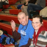The Dulin's, dubbed CCS's Number One Fans, support the boys at a basketball game.