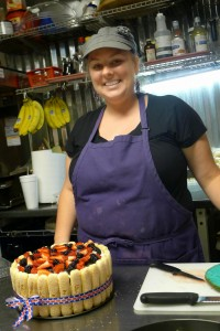 St. Francis Inn's cook Janice Leary and her Fourth of July Lady Finger Cake.