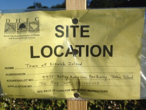 This sign was found on a lot behind the Rosebank Farm's produce stand on Betsy Kerrison Parkway.