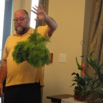 "Randy Howie holding  a ""cotton candy"" fern."