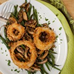 Green Bean and Wild Mushroom Ragout with Crispy-Fried Onion Rings