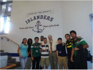 Mark Epstein with students on the day of the mural dedication.