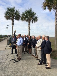 U.S. Rep. Mark Sanford with State Sen. Chip Campsen and various elected officials from coastal communities in South Carolina at a press conference last month. (Photo by Myles Maland)