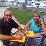 Todd Gerhart and Maraide Sullivan, at the Bohicket Marina, planning the Charleston County GOP – Presidential Candidate Meet & Greet Series for Kiawah/Seabrook/Johns Islands.