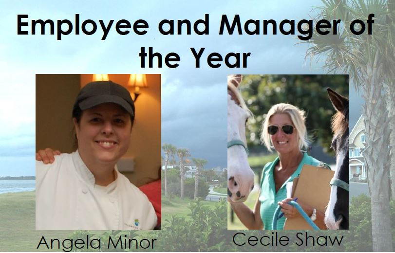 2015 Employee of the Year, Angela Minor, Pastry Chef, and 2015 Manager of the Year, Cecile Shaw, Equestrian Barn Manager.