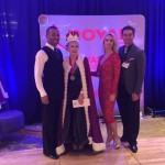 Mary Early and her dance partner, Cesar Lozada, receiving their awards at the Royal Dance Sport Challenge.