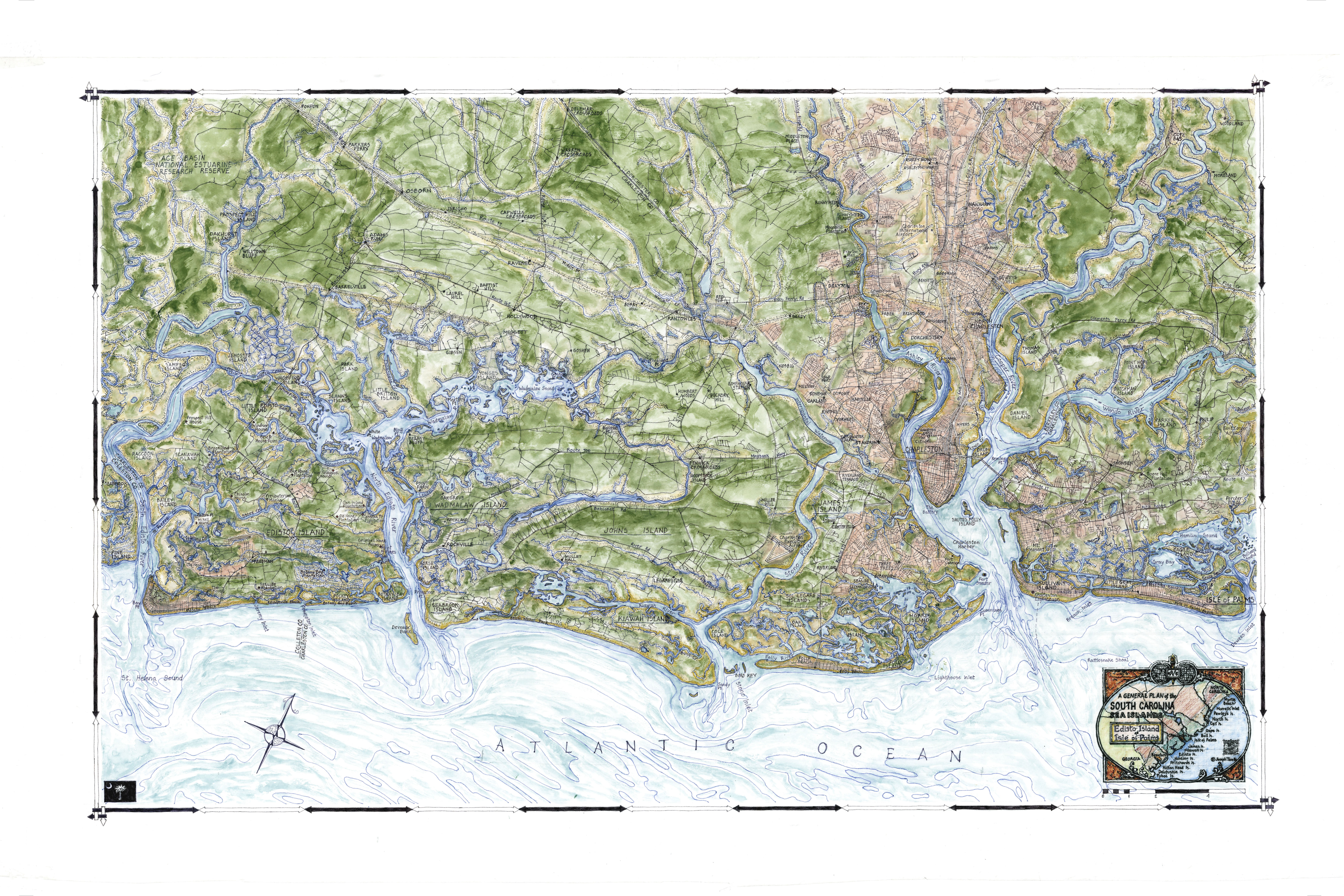 Hand-drawn Maps Showcase Beauty Of Carolina Coast - The ... on map of kershaw, map of taylors, map of kingstree, map of mcclellanville, map of latta, map of aynor, map of ridgeville, map of lodge, map of robert trent jones trail, map of west columbia, map of blackville, map of charleston, map of summerton, map of the greenbrier, map of holly hill, map of hemingway, map of bandon dunes, map of travelers rest, map of easley, map of pamplico,