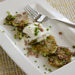 Zucchini Pancakes with Country Ham and Buttermilk Crème Fraiche