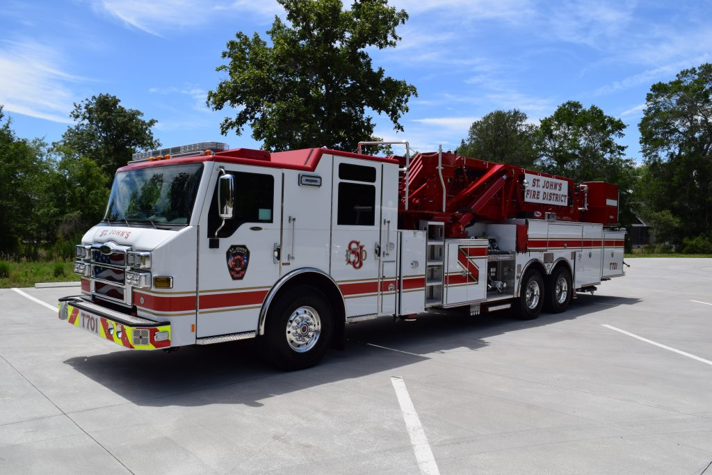 The new ladder truck will be housed at Station Four on Kiawah Island. (Photo courtesy of STJFD)
