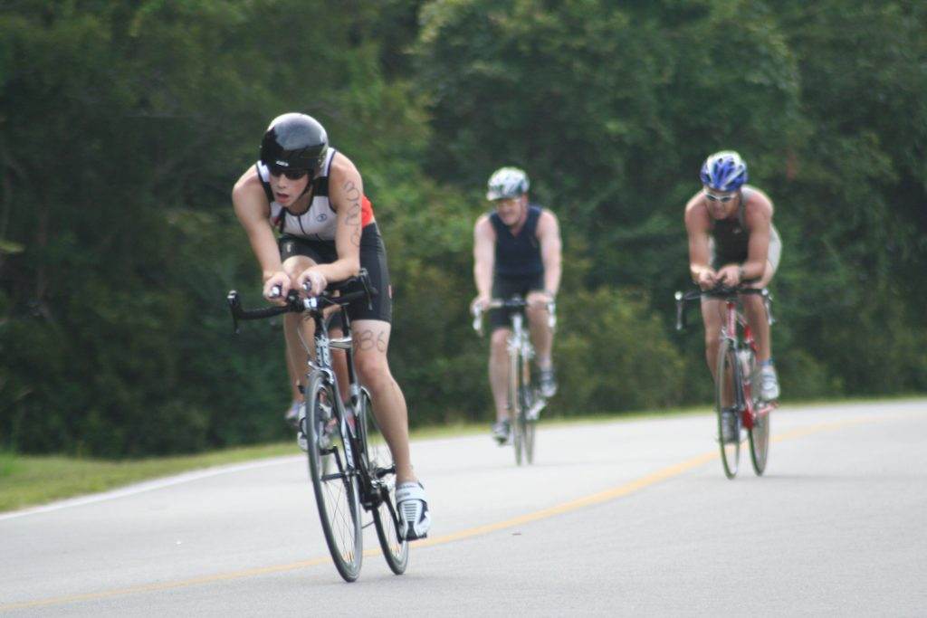 Participants in the Charleston Sprint Triathlon, in bike competitions.